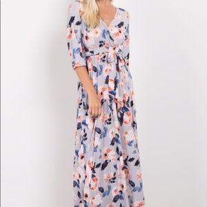 Pinkblush wrap style floral maxi dress Maternity
